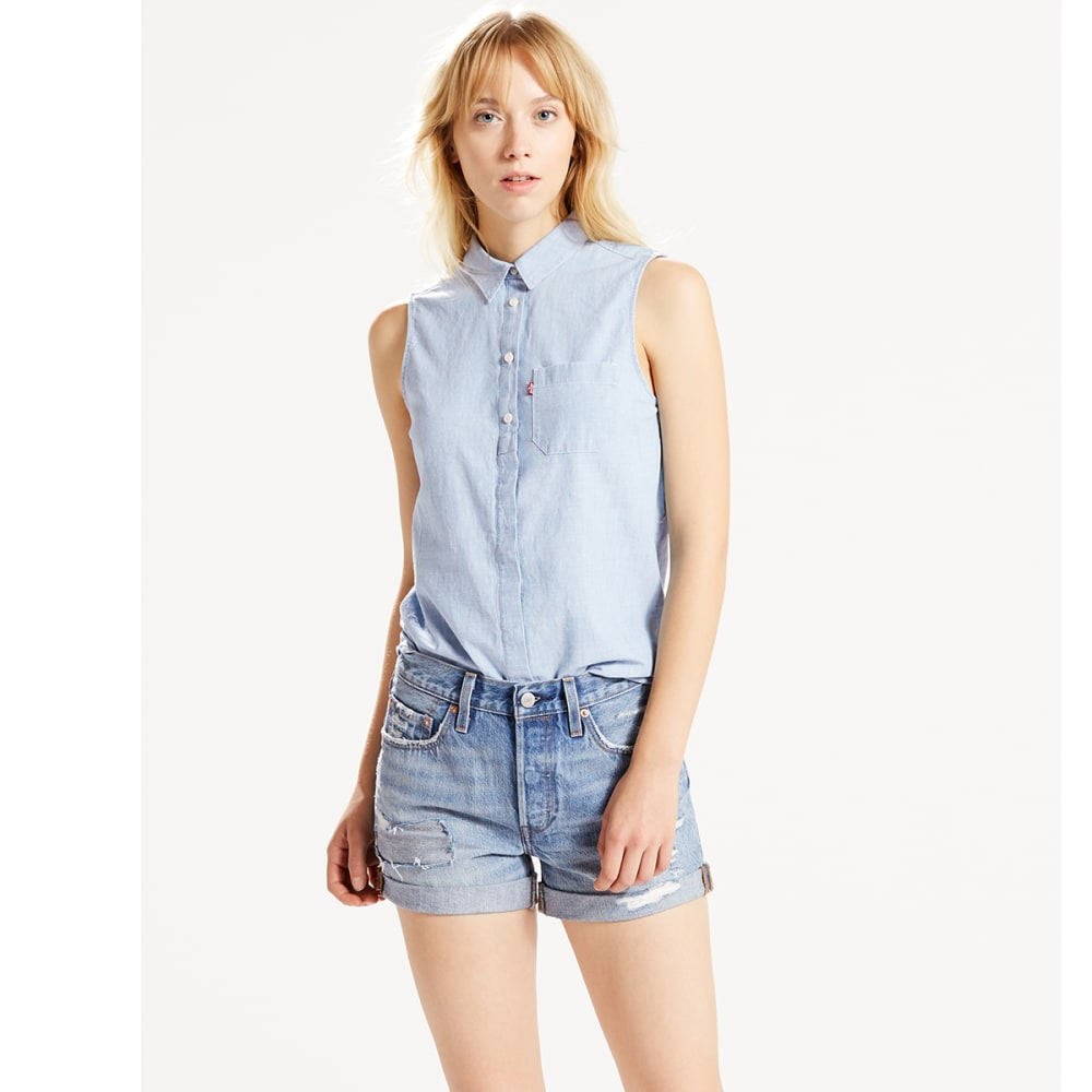 LEVI'S Women's Joni Sleeveless Shirt - 0003-SUPER LIGHT AUT