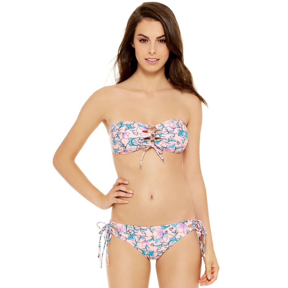 95 DEGREES Juniors' Laces Out Bandeau Floral Bikini Top - PEACH MULTI