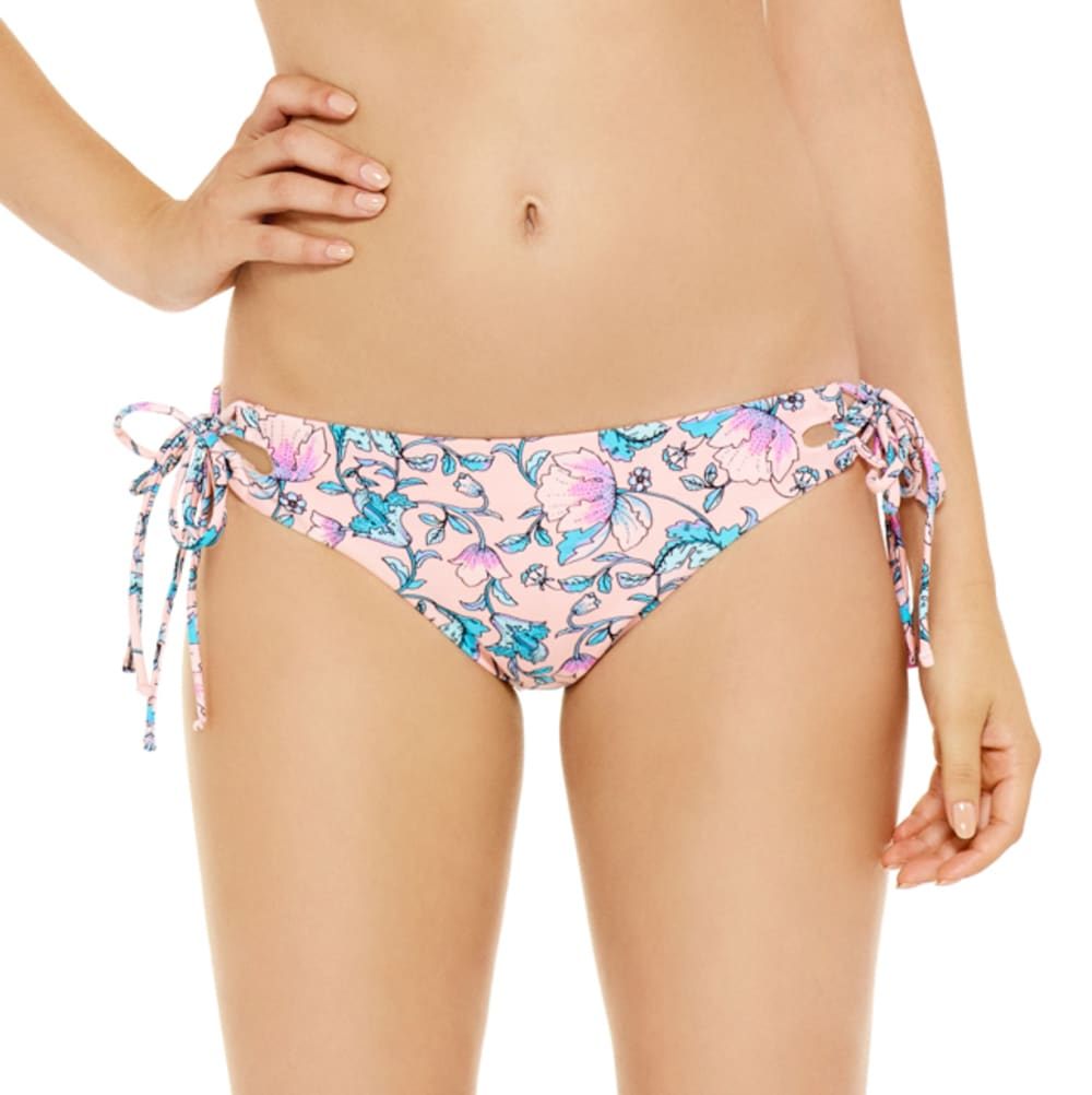 95 DEGREES Juniors' Laces Out Floral Cheeky Hipster Bikini Bottom - PEACH MULTI