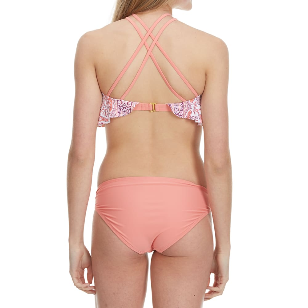 99 DEGREES On Point Biadere Flounce Hi-Neck Swim Top - PEACH MULTI