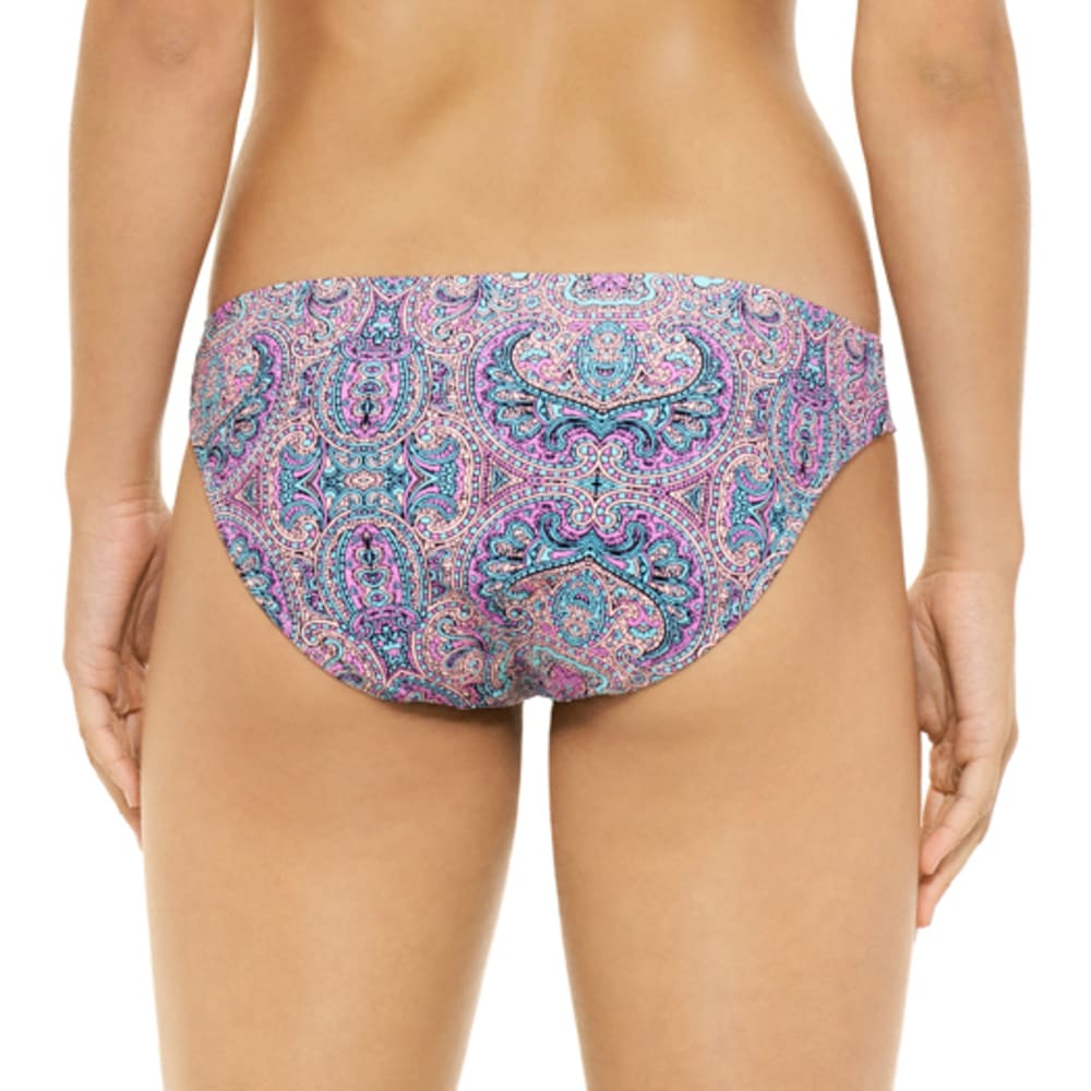HOT WATER Juniors' Joy Parade Paisley Tunnel Side Bikini Bottoms - PINK MULTI