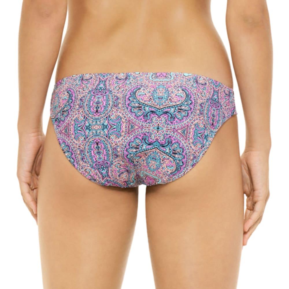 HOT WATER Juniors' Joy Parade Paisley Tunnel Side Bikini Bottoms - PINK MULTI