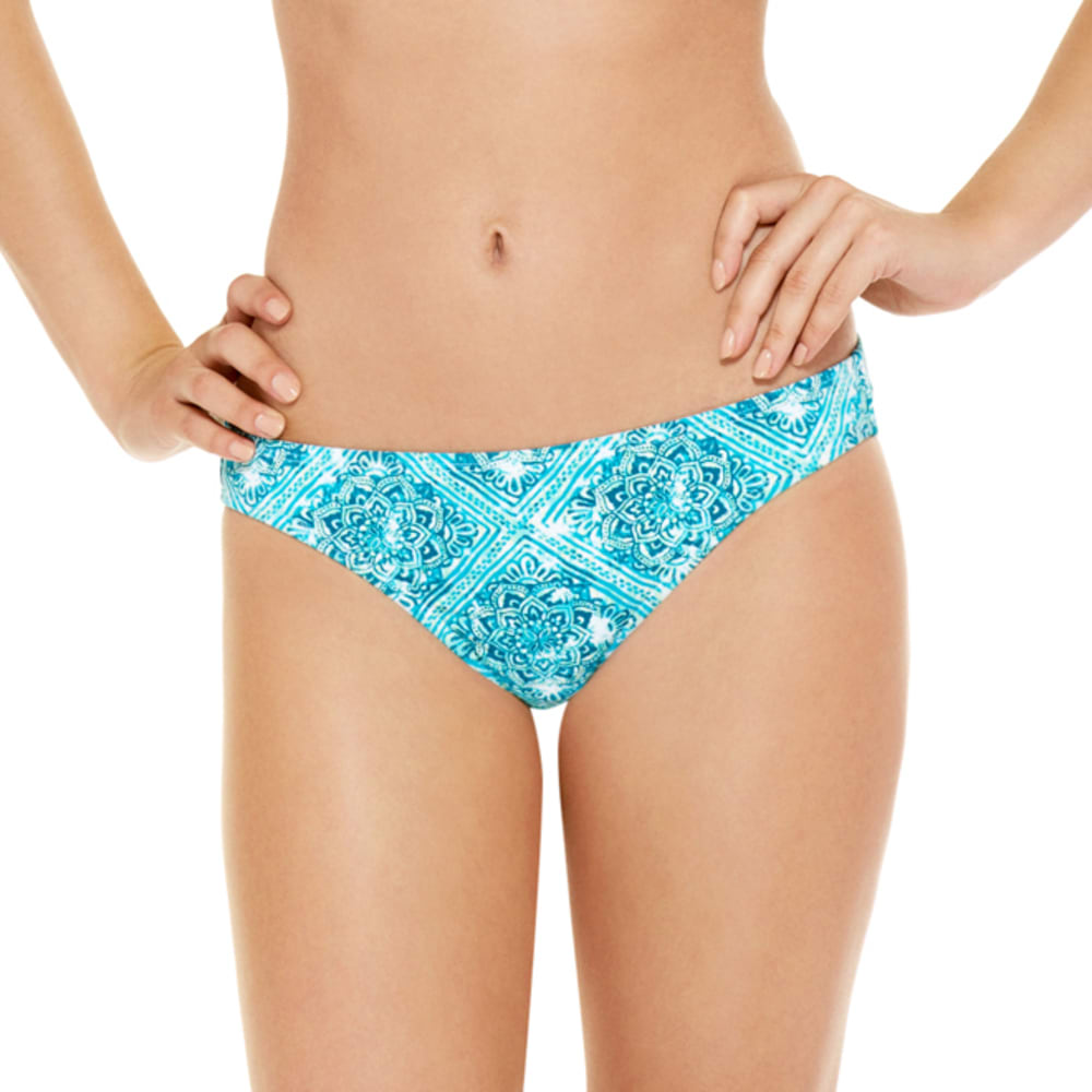 95 DEGREES Juniors' Retro Daze Tile Print Bikini Bottoms - TURQUOISE MULTI