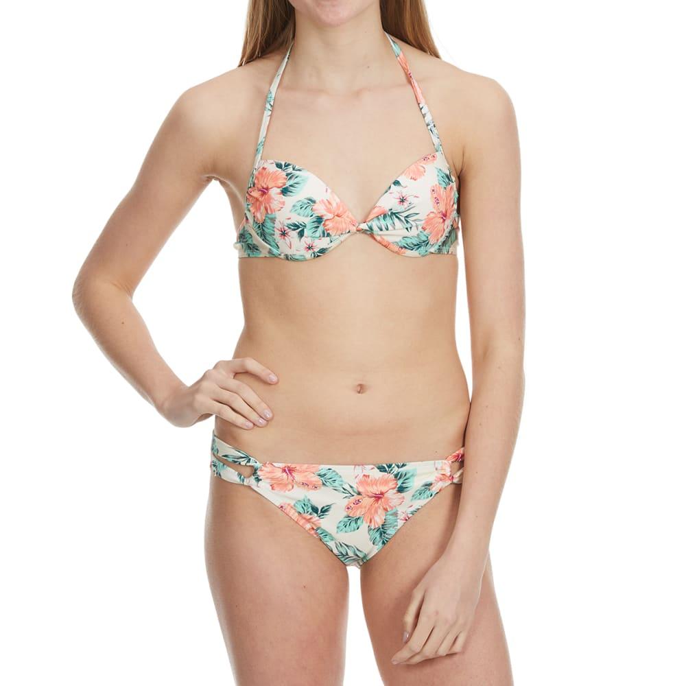HOT WATER Junior's On The Harbor Tropical Push-Up Interlock Bikini Top - WHITE MULTI