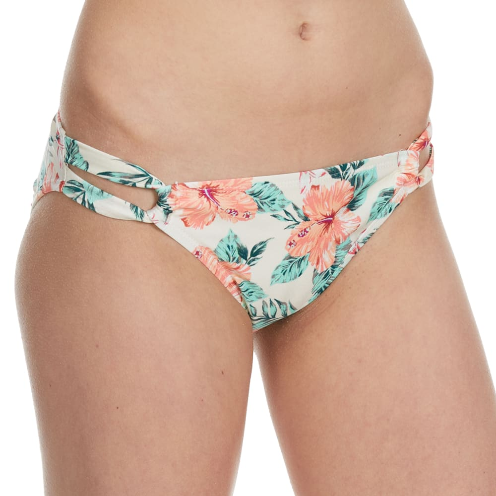 HOT WATER Junior's On The Harbor Tropical Tunnel Side Bikini Bottom - WHITE MULTI