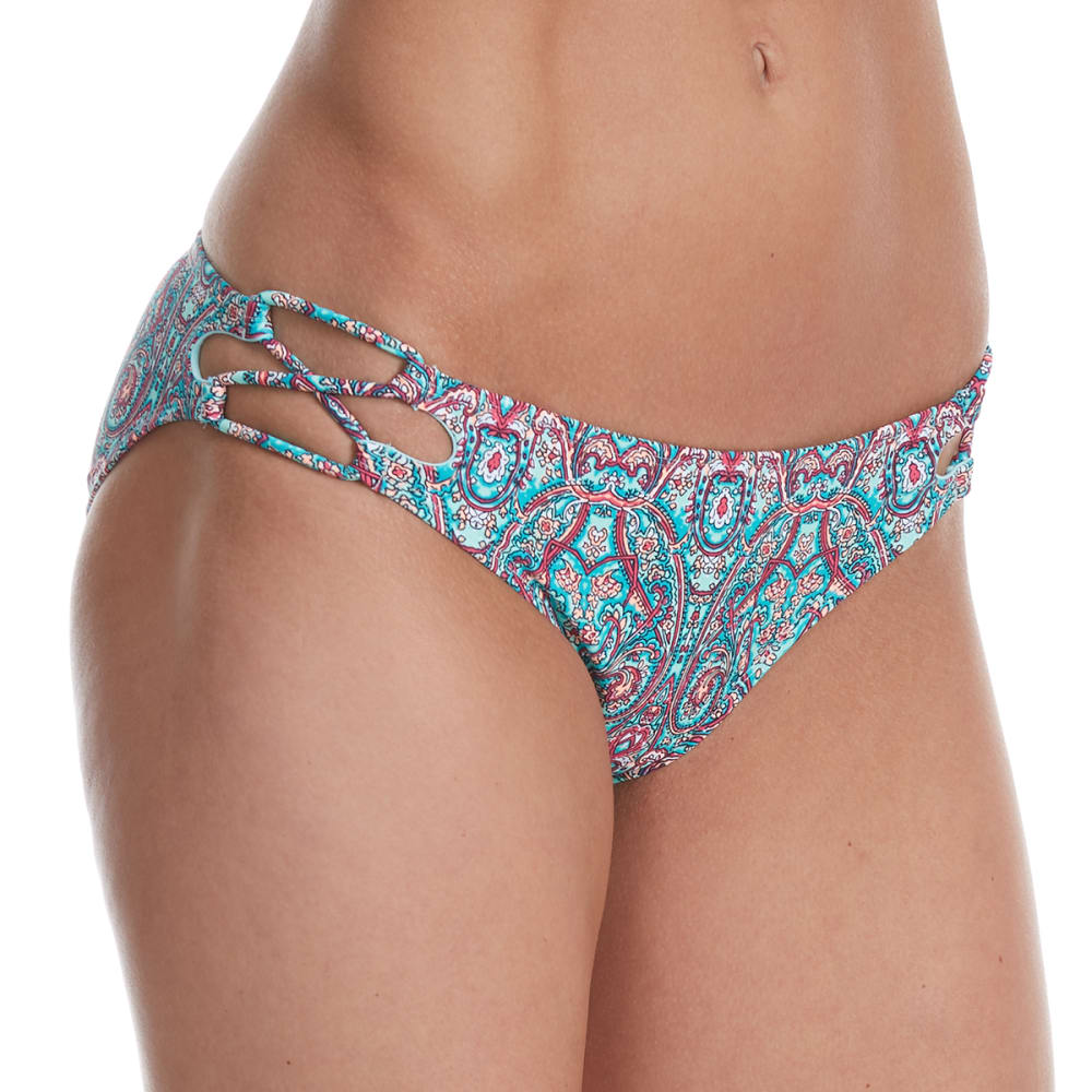 95 DEGREES Juniors' Bellisima Paisley Hipster Bikini Bottoms - MINT MULTI