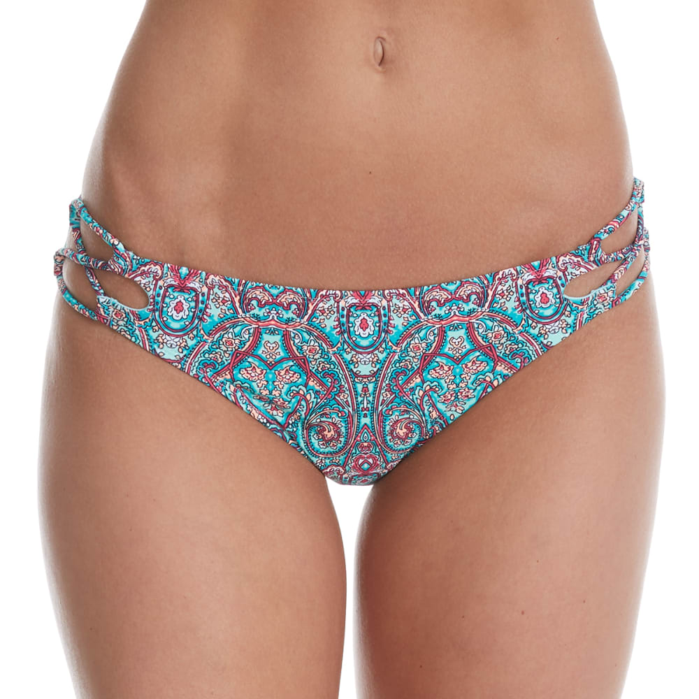 95 Degrees Juniors Bellisima Paisley Hipster Bikini Bottoms - Green, L