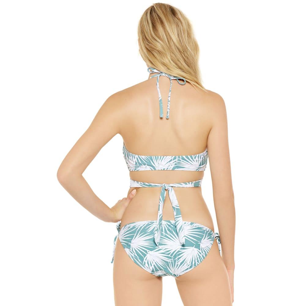 99 DEGREES Juniors' Under Wraps Palm Wrap Bralette Bikini Top - GREEN PRINT