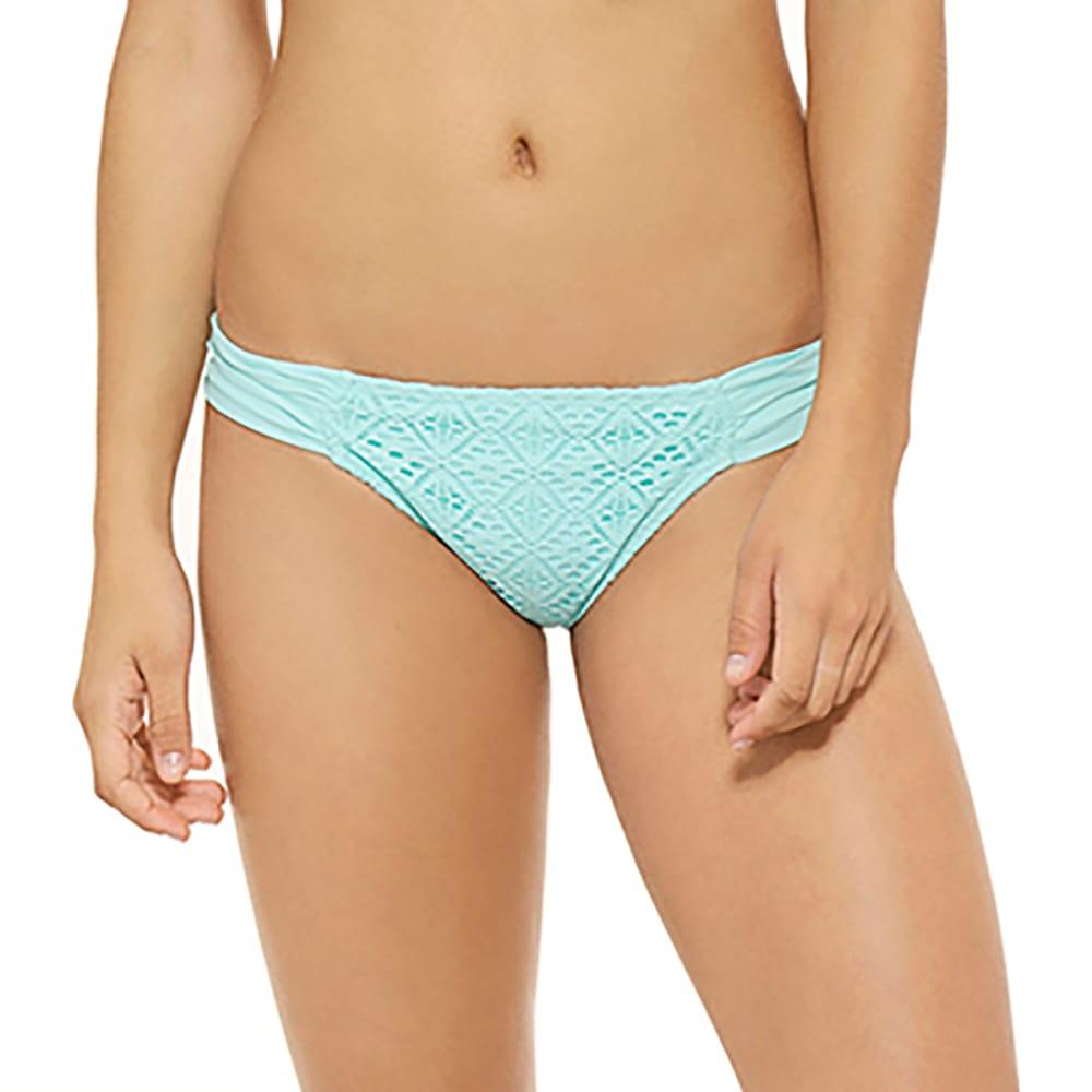 HOT WATER Juniors' Swept Away Crochet Soft Tab Bikini Bottoms - GLACIER