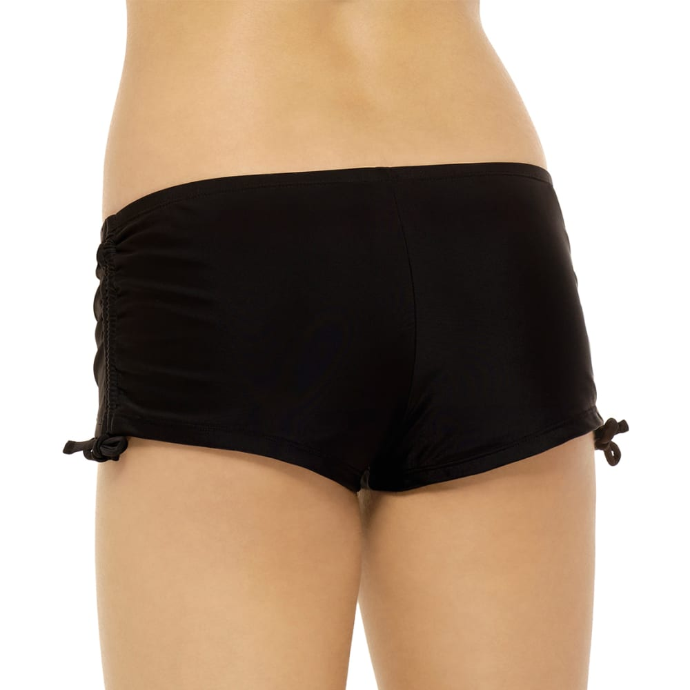 HOT WATER Juniors' Ocean Ave Solid Boyshort Bottoms - BLACK