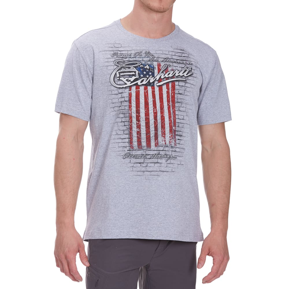 CARHARTT Men's MTO Flag Americana Graphic Short-Sleeve Tee - HEATHER GRAY 034