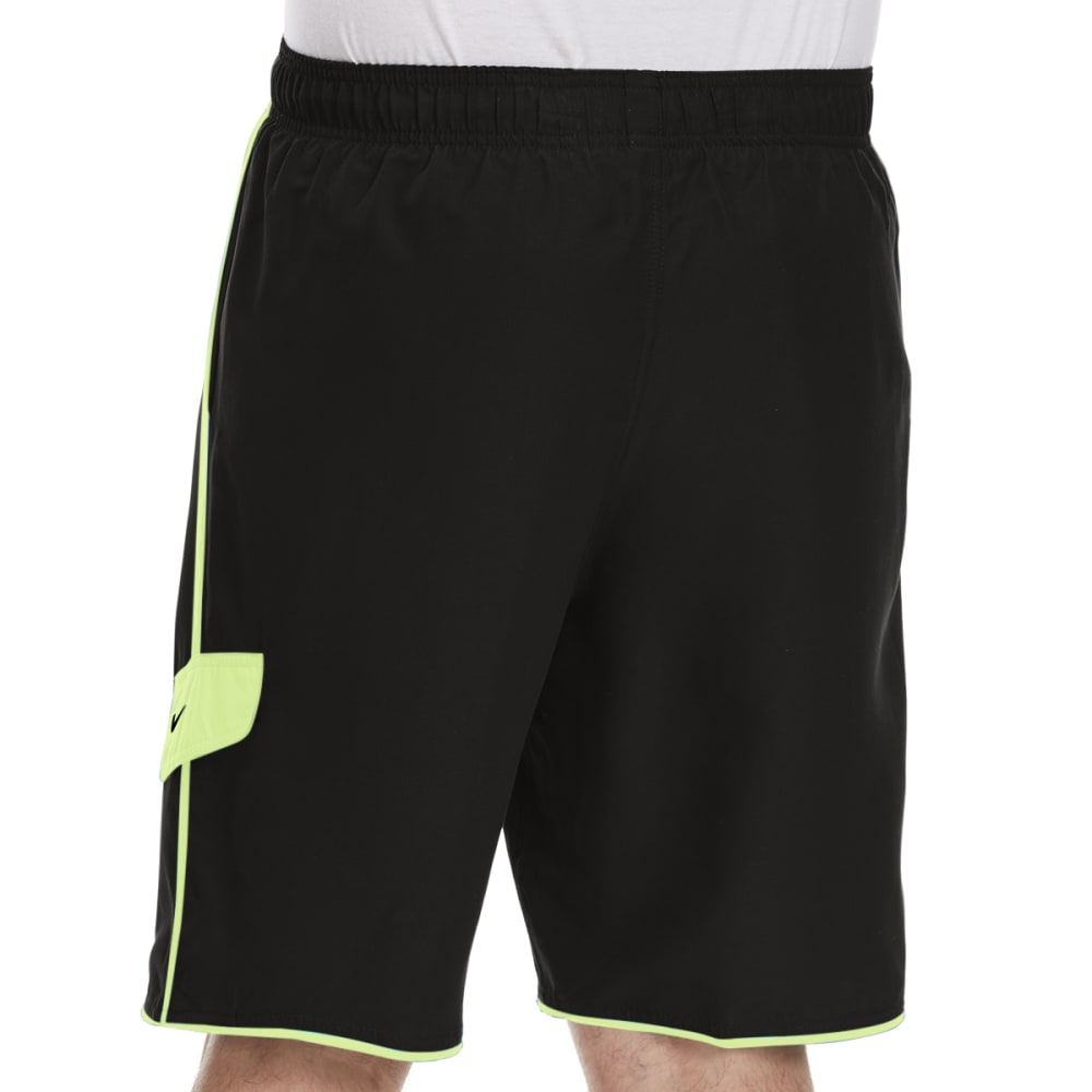 NIKE Men's Core Cargo Swim Shorts - BLK/VOLT-001