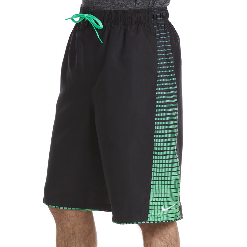 NIKE Men's 11 in. Continuum Splice Swim Shorts - BLK/GRN-001