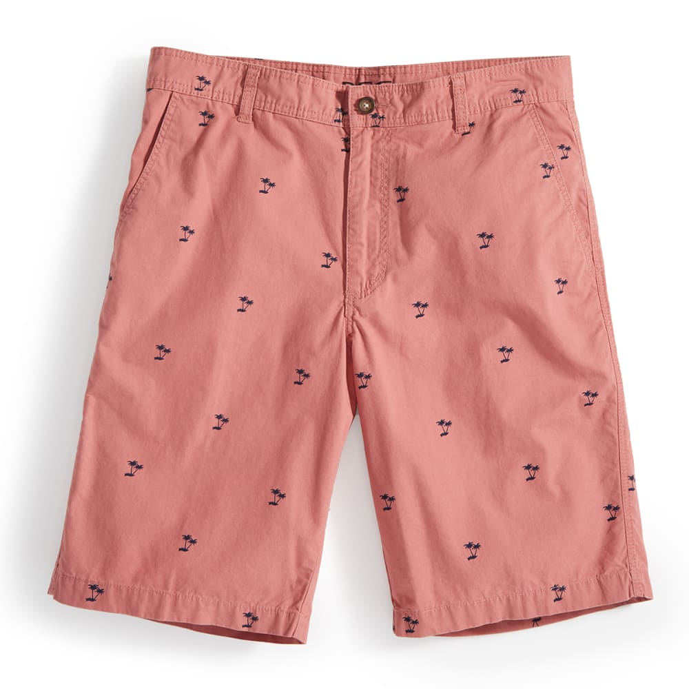 BCC Men's Printed Flat-Front Shorts - PALM SALMON / NAVY
