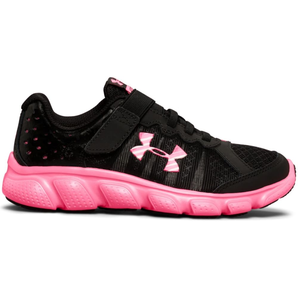 UNDER ARMOUR Girls' Pre-School Assert 6 AC Running Shoes, Black/Pink - BLACK/PINK