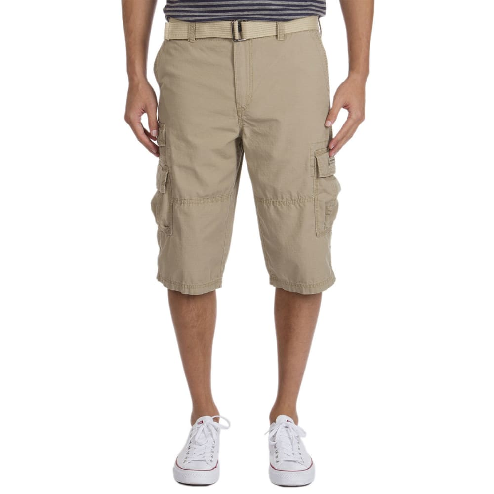 UNIONBAY Guys' Kodiak Belted Cargo Messenger Shorts - GRAIN