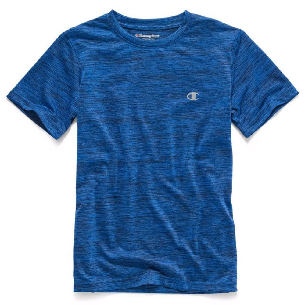 CHAMPION Boys' Linear Heather Athletic Short-Sleeve Tee - AWESOME BLUE