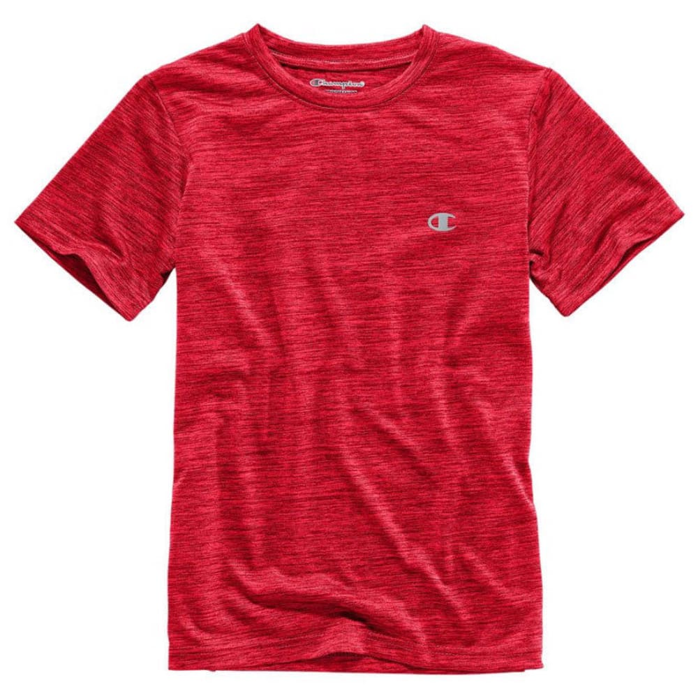 CHAMPION Boys' Linear Heather Athletic Short-Sleeve Tee - CRIMSON RED