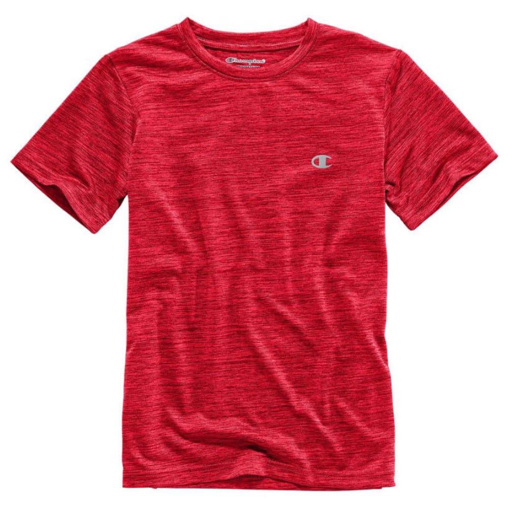 CHAMPION Boys' Linear Heather Athletic Short-Sleeve Tee - CRIMSON RED
