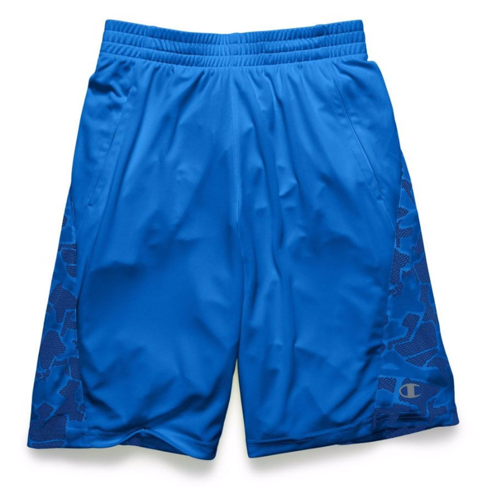 CHAMPION Boys' Two-Faced Shorts - AWESOME BLUE/SILVEST