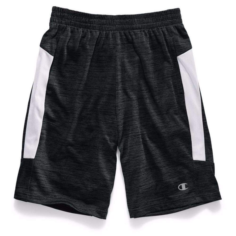 CHAMPION Boys' Tournament Shorts - BLACK TWISTED/SILVER