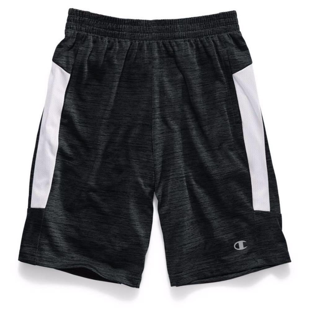 CHAMPION Boys' Tournament Shorts - BLACK TWISTED/SILVER