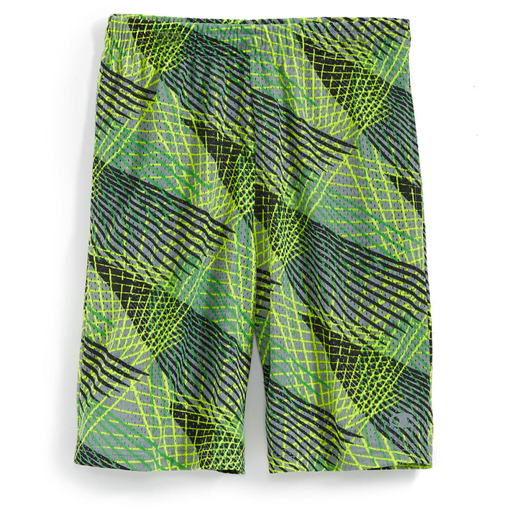 CHAMPION Boys' Printed Open-Hole Mesh Shorts - CONCRETE