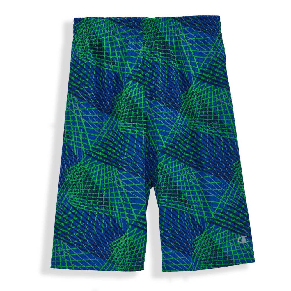 CHAMPION Boys' Printed Open-Hole Mesh Shorts - AWESOME BLUE