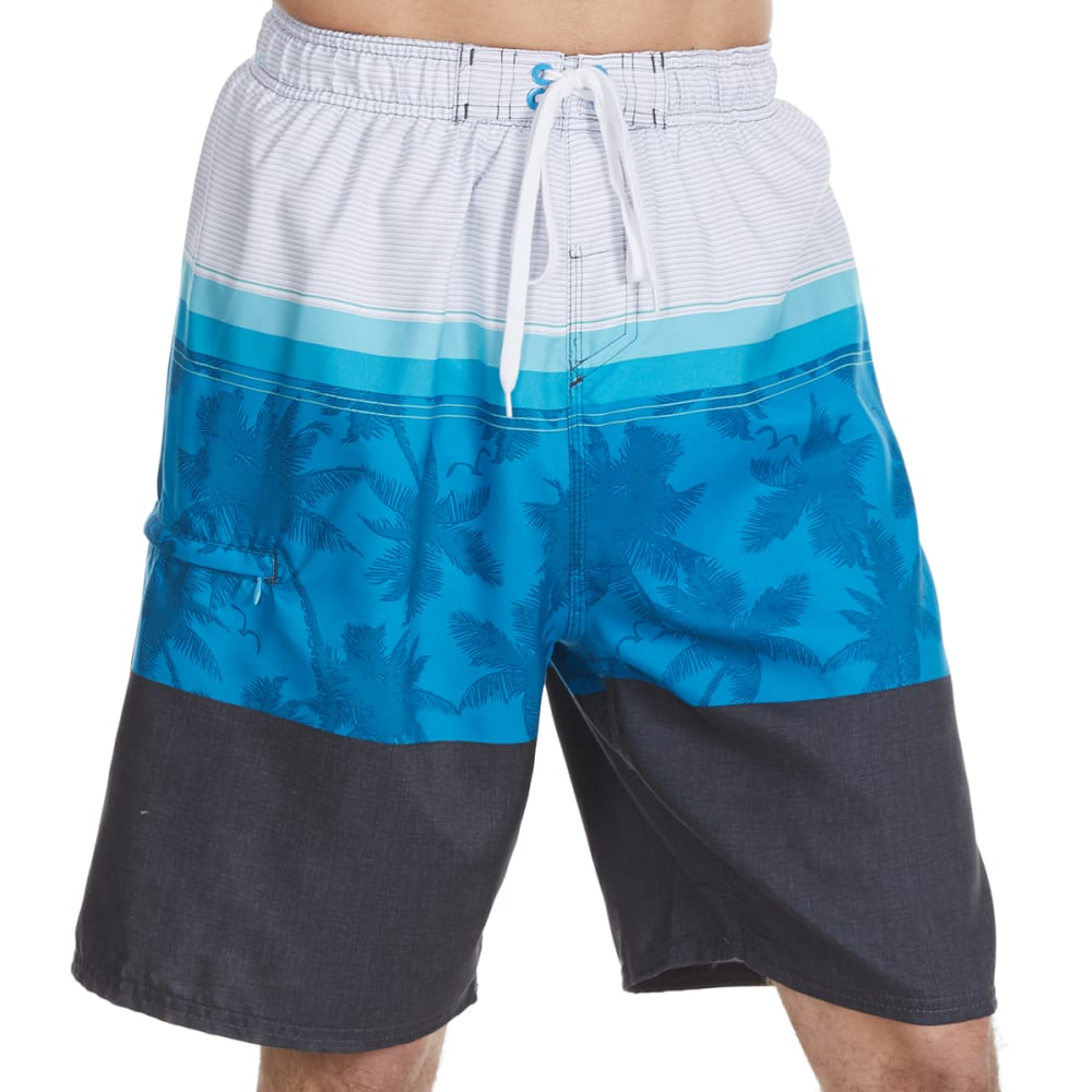BURNSIDE Guys' Molokai Tri-Color Block Swim Shorts - BLUE