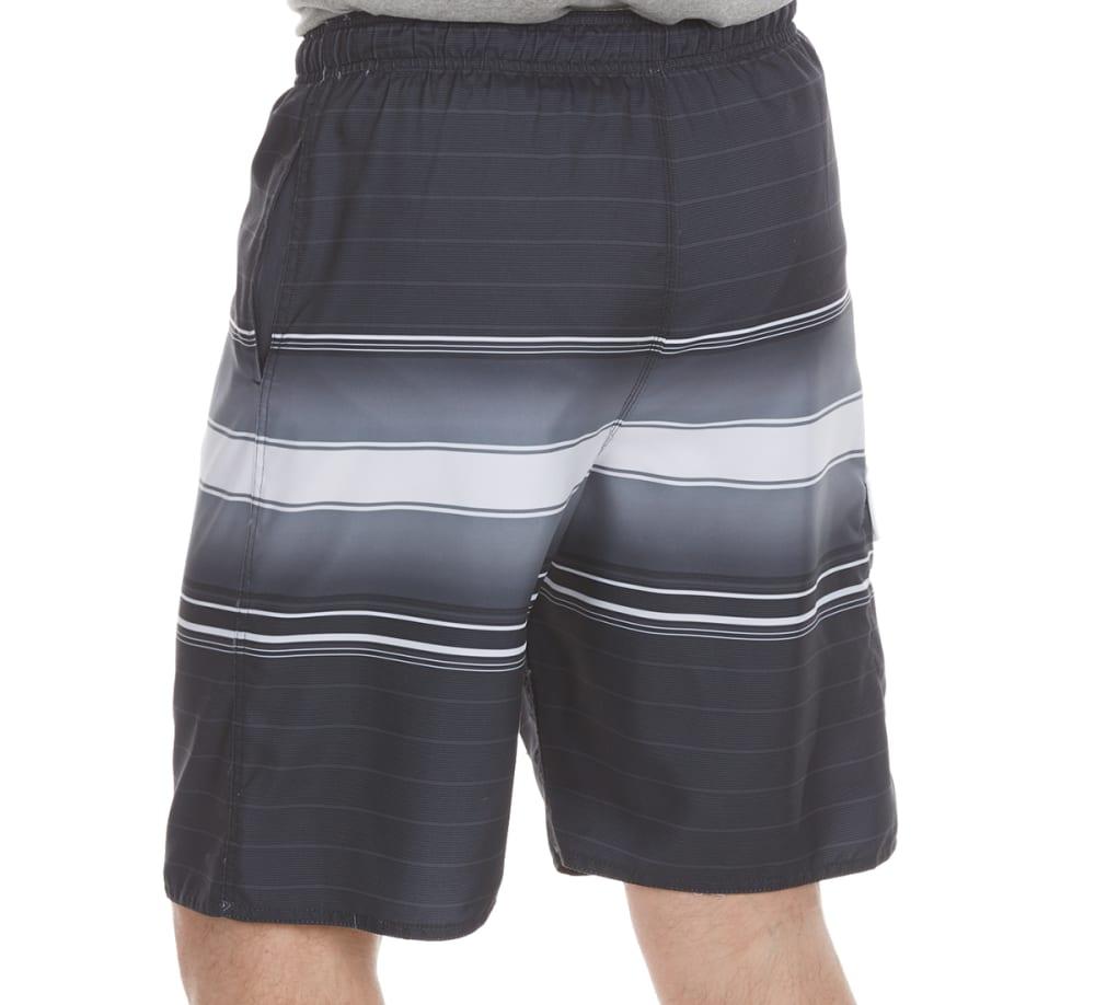BURNSIDE Guys' Horizontal Stripe Swim Shorts - GREY