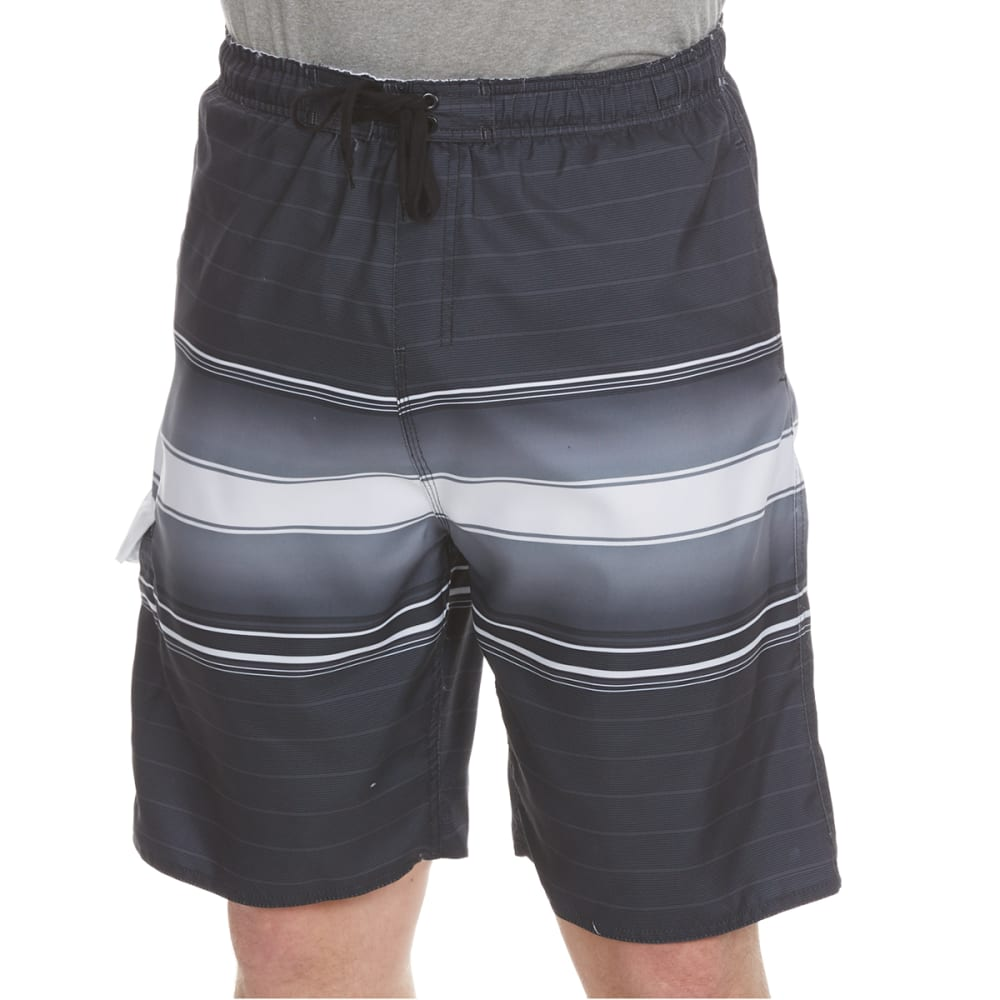 BURNSIDE Guys' Horizontal Stripe Swim Shorts - GREY