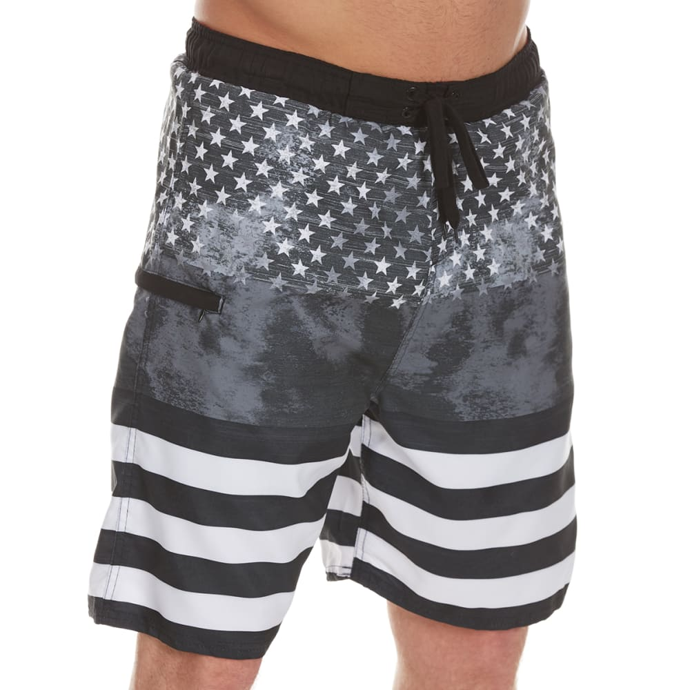 Burnside Guys' Glory Flag Swim Shorts - Black, S