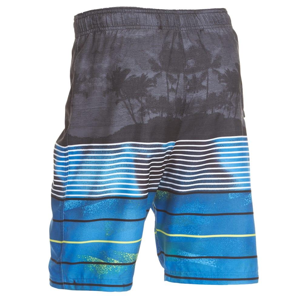BURNSIDE Guys' Kailua Horizontal Stripe Boardshorts - BLUE
