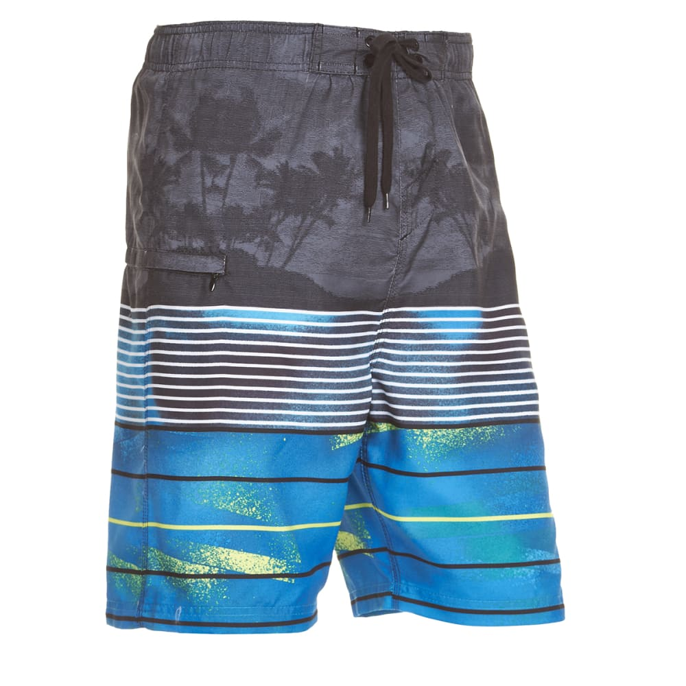 Burnside Guys Kailua Horizontal Stripe Boardshorts - Blue, S