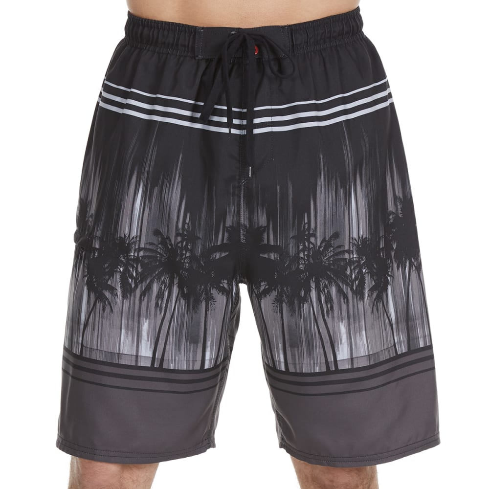 BURNSIDE Guys' Illuminated Palms Swim Shorts - GREY