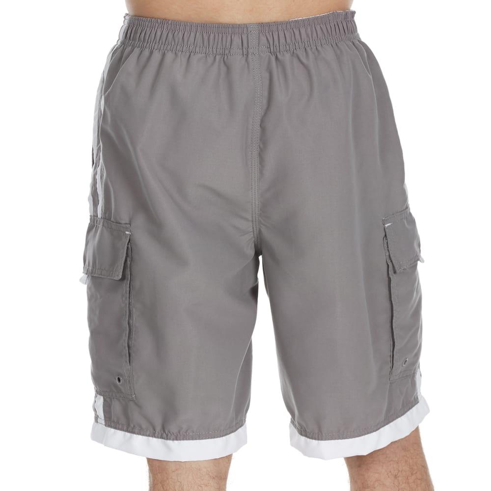 BURNSIDE Guys' Impersonator Double Stripe Swim Shorts - GREY WHITE