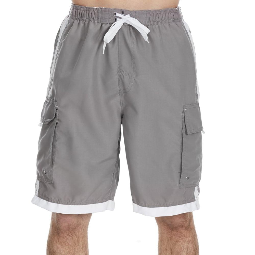 0f6b0ad1bdc3f BURNSIDE Guys' Impersonator Double Stripe Swim Shorts - GREY WHITE