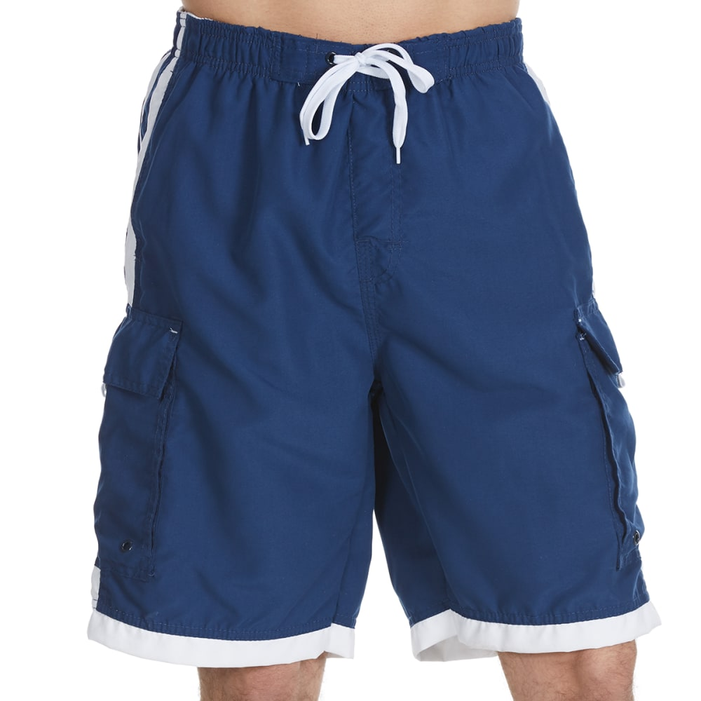 BURNSIDE Guys' Impersonator Double Stripe Swim Shorts - NAVY WHITE