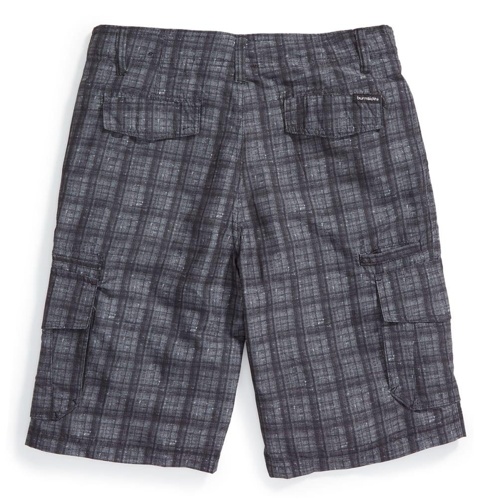 BURNSIDE Guys' Plaid Microfiber Shorts - BLACK/GREY