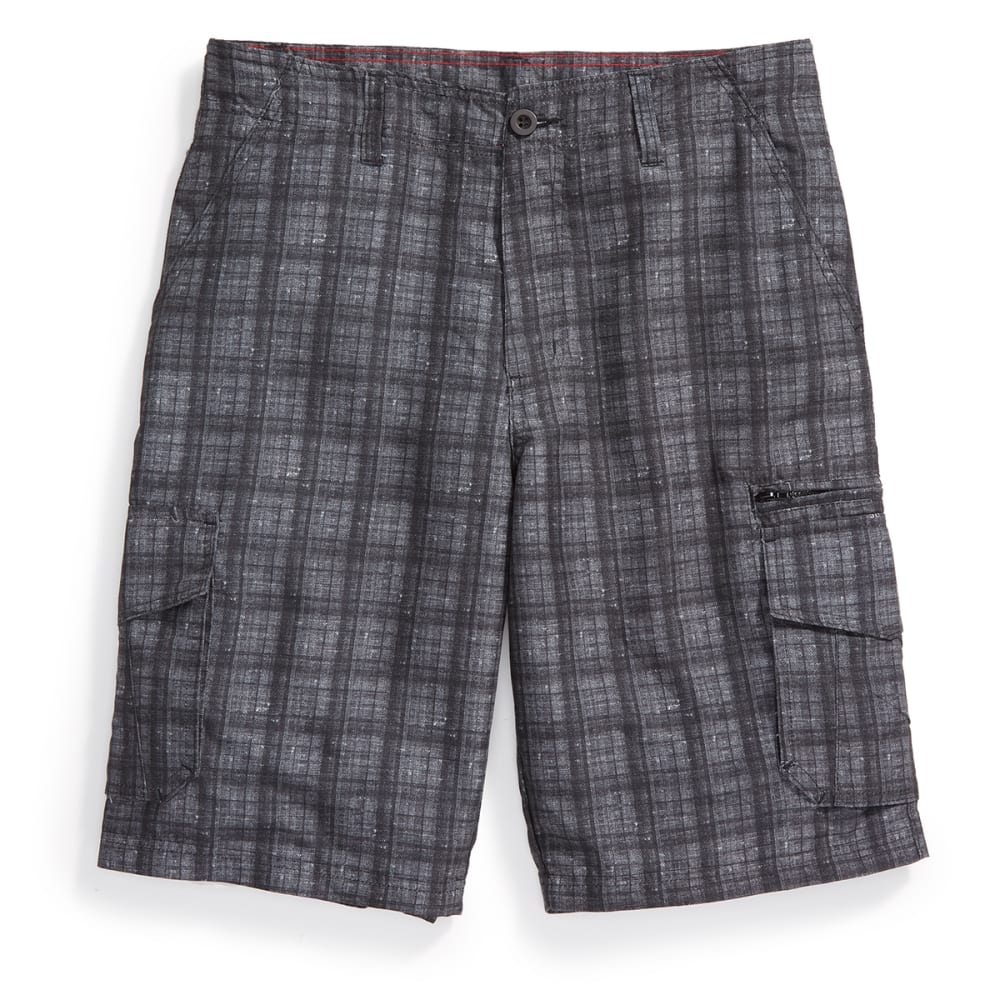 BURNSIDE Guys' Plaid Microfiber Shorts - BLACK/GREY