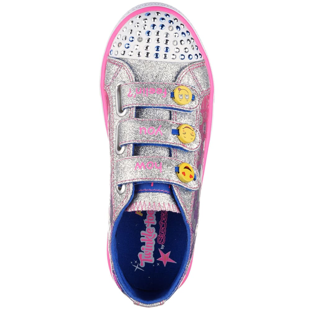 SKECHERS Girls' Twinkle Toes: Shuffles- Expressionista Shoes - GRY/PURP/PNK