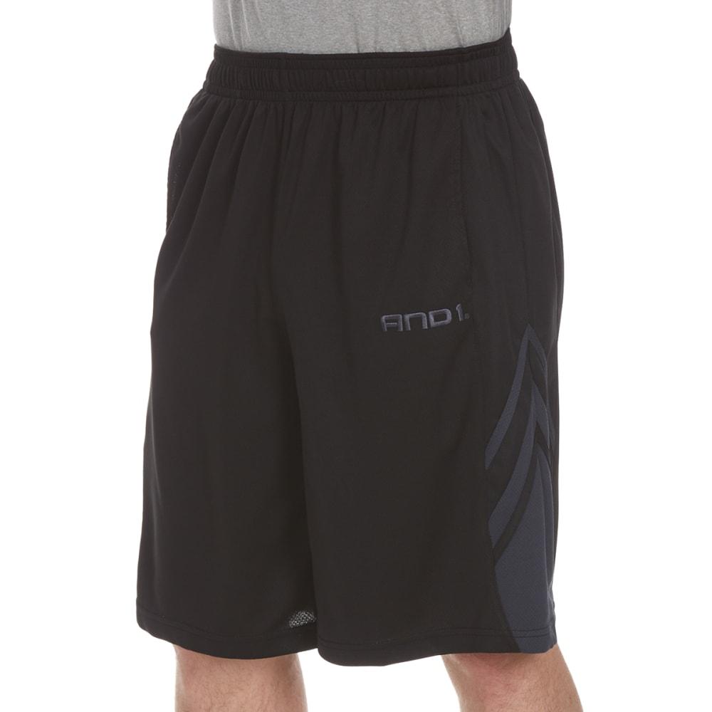 AND1 Men's Arc Baller Mesh Shorts - BLACK-S143