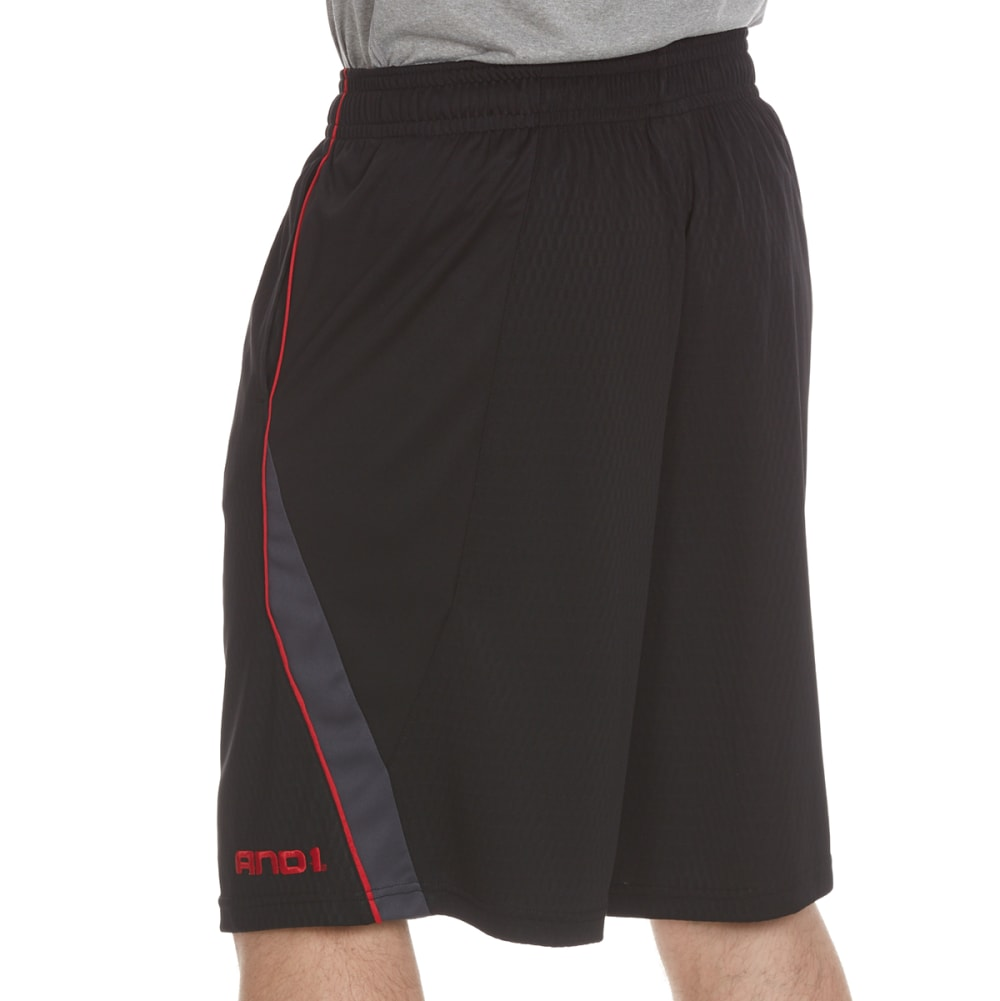AND1 Men's Disruptive Honeycomb Mesh Shorts - BLACK-S143