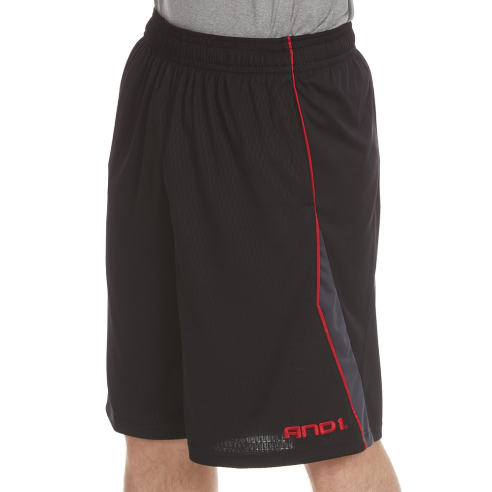 AND1 Men's Disruptive Honeycomb Mesh Shorts - BLACK-S143