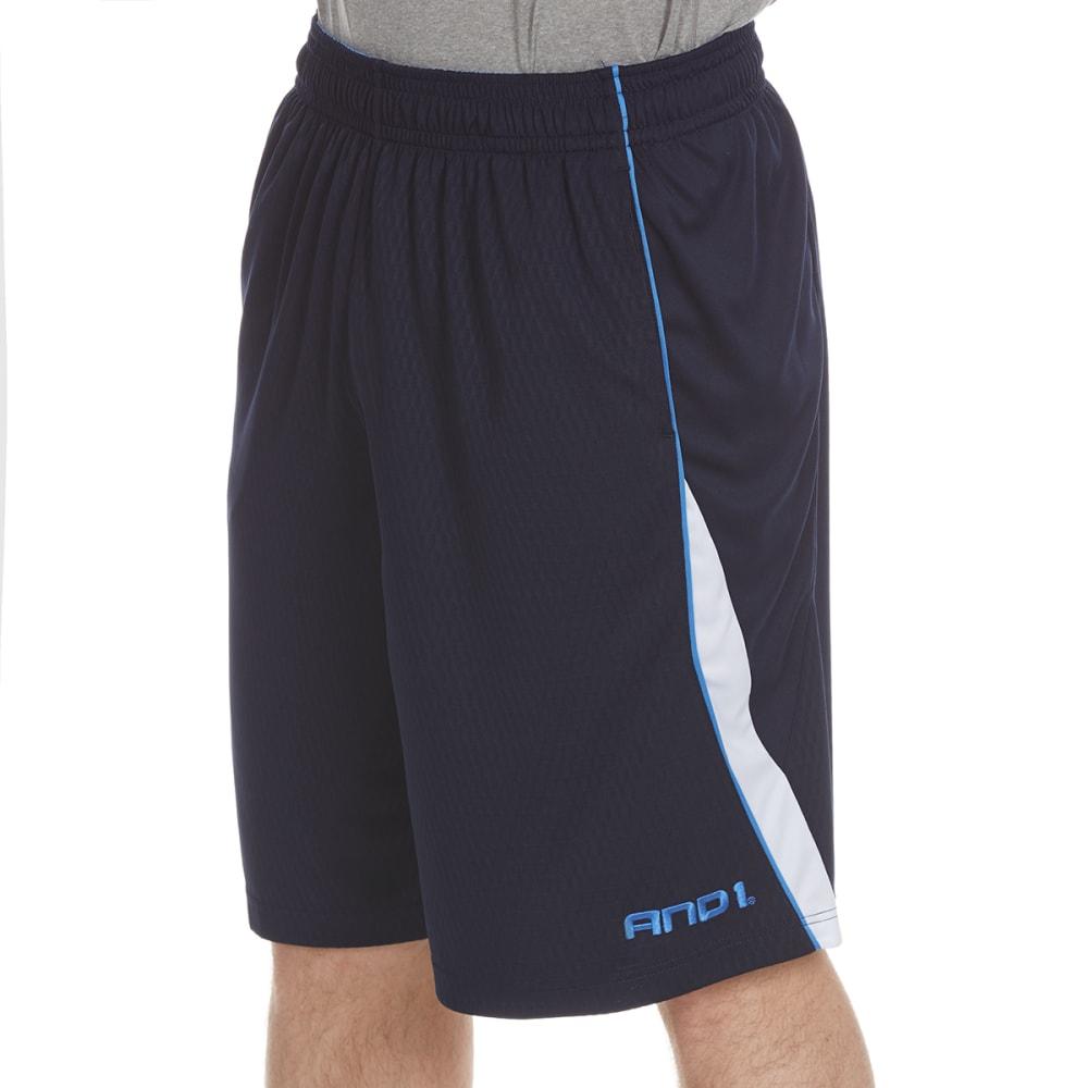 AND1 Men's Disruptive Honeycomb Mesh Shorts - NAVY-S136