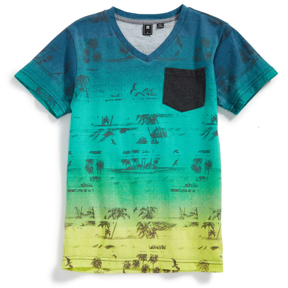 OCEAN CURRENT Boys' Global Sublimated Palm Print V-Neck Short-Sleeve Tee - ICEY YELLOW
