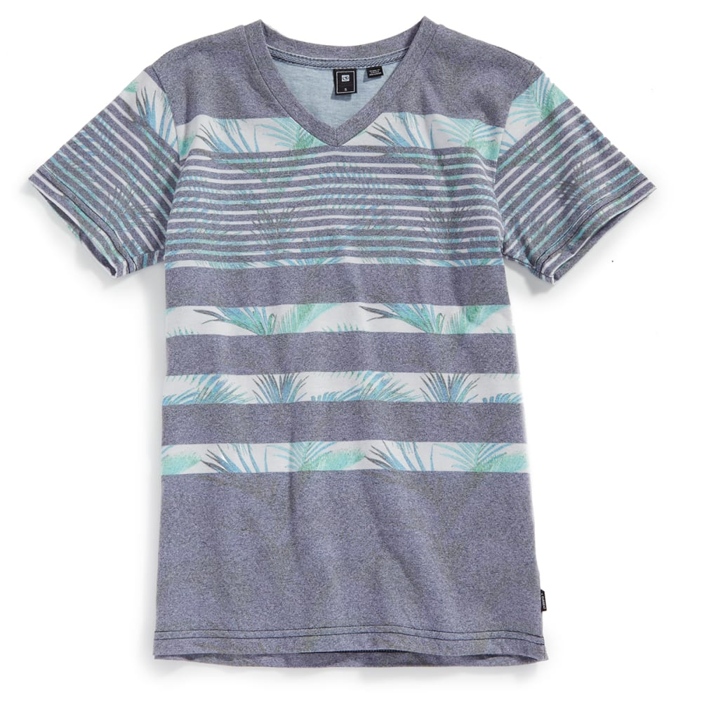 OCEAN CURRENT Boys' Tristan Mock Twist Palm Stripe V-Neck Short-Sleeve Tee - INDIGO