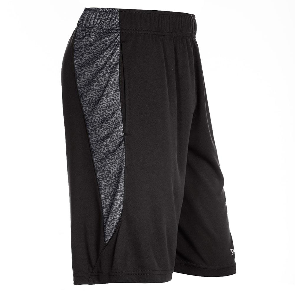 SPALDING Men's Poly Interlock Marble Inset Basketball Shorts - BLACK-001