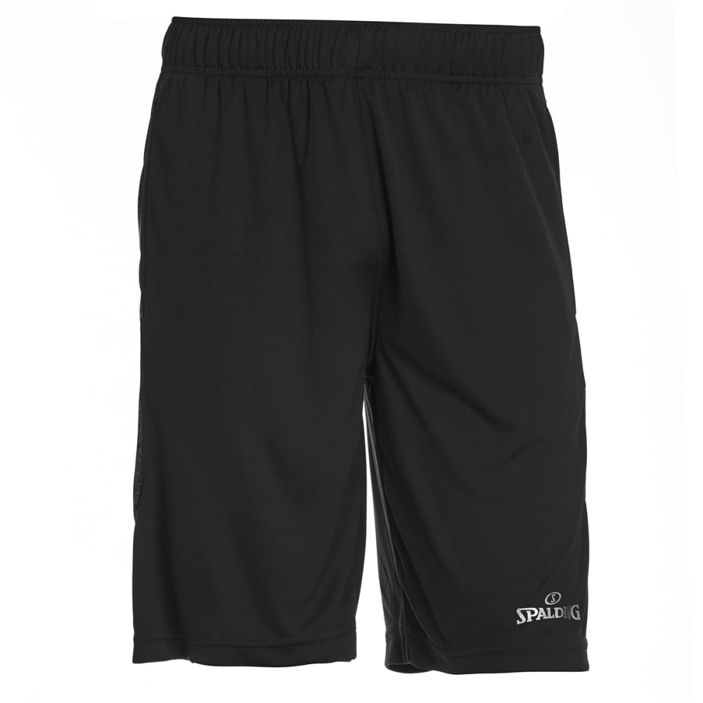 SPALDING Men's Poly Interlock Marble Inset Basketball Shorts - BLACK-001