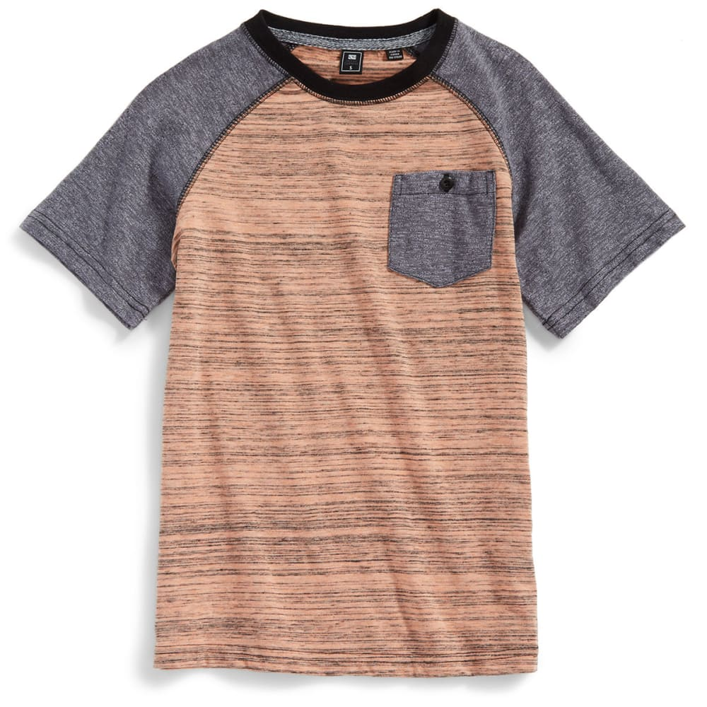 OCEAN CURRENT Boys' Derive Spacedye Raglan Pocket Crewneck Short-Sleeve Tee - REEF
